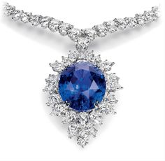 Harry Winston - Magnificent Color Change Sapphire and Diamond Drop Necklace (Oval color change sapphire, carats; 116 marquise and pear-shaped diamonds, total carats Sapphire Necklace, Sapphire Jewelry, Drop Necklace, Stone Necklace, Sapphire Diamond, Sapphire Pendant, Diamond Jewelry, Diamond Brooch, Diamond Necklaces