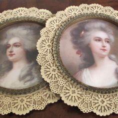 Pr Vintage ROUND Elaborate Pierced LACE Frames * Portraits Elegant French LADIES