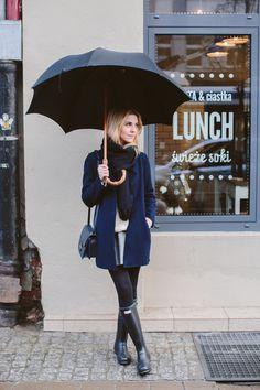 Waiting in the Rain in Navy, Navy Coat, Jeans, Umbrella, Handbag  and Rain Boots, Light Gray Sweater