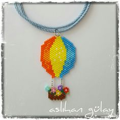 Beaded Balloon.. Brick stitch balloon necklace, miyuki jewelery