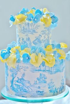 Wedding Cake Designed & Yellow & Blue Flowers