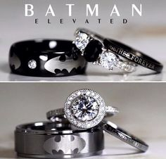Men Wedding Rings Batman Inspired Unique Sterling Silver Tungsten Natural Black Onyx And Cubic Zirconia Wedding Set, Jewelry Gift for Man - Batman Wedding Ring Sets - Engagement Ring - Wedding Band Batman Wedding Rings, Wedding Bands For Him, Black Wedding Rings, Unique Wedding Bands, Black Rings, Wedding Sets, Wedding Ring Bands, Trendy Wedding, Gold Wedding