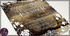 Rustic Vineyard Bridal Shower Invitations #wedding #vineyardwedding #rustic