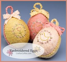 Tutorial for easy, Embroidered Easter Eggs. CraftsnCoffee.com.