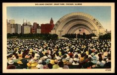 Chicago Illinois band concert grant Park linen vintage postcard