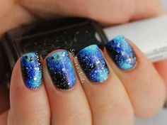 Sparkly blue and purple nails