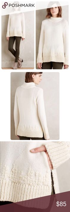 """🎉HP🎉Anthropologie Embroidered Mockneck Pullover Super cozy and comfy Embroidered Mockneck Pullover by Sleeping on Snow Anthropologie ❤️😘Wool, nylon, acrylic, alpaca sweaterknit Embroidere detail Ribbed trim Vented hem Side pockets Machine wash 24""""L NWT Size Medium Anthropologie Sweaters"""