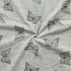 Baumwolle Strech-Jersey Schmetterlinge Melange Farbe grau Artikel Nr. 17709  Stoffkontor