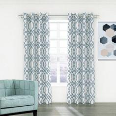 Linda Jacquard Eyelet Curtain Blue | New