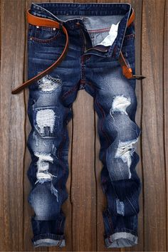 $24.68 Ripped and Repaired Slim Fit Jeans - Denim Blue