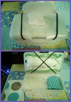 Copied this from another momma. Wipe box with small wipes attached to top. Rest of container is free to be used for diapers, extra clothes, butt cream, etc