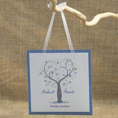 Winter Crystals Tree, hanging pocket, Wedding invitations with Swarovski crystals