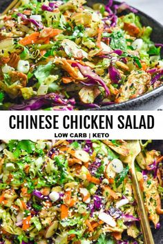 New i know i know low carb salads and guilty pleasures don t normally go together but this is one of my go to healthy recipes that i literally build my week around lowcarbchinesechickensalad chinesechickensalad crunchy poppyseed chicken salad Chicken Salad Recipes, Healthy Salad Recipes, Keto Recipes, Dinner Salad Recipes, Low Carb Chicken Salad, Healthy Chicken Salads, Salad Chicken, Great Salad Recipes, Fish Recipes