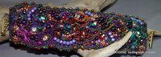 SHEER DECADENT SHIBORI: Bead Embroidered Bracelet/Cuff от 4uidzne