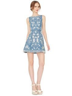 LINDSEY EMBROIDERED POUF DRESS by Alice + Olivia