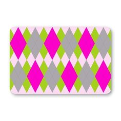 Pink Argyle pattern door mat - small