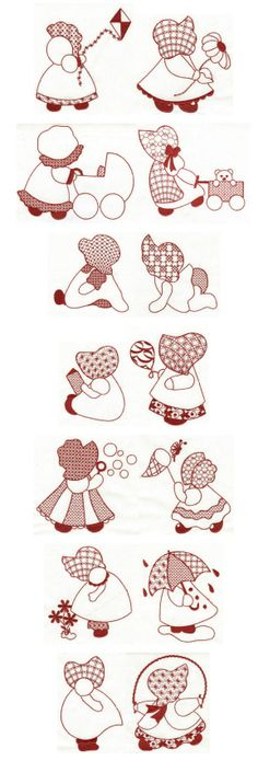 Embroidery designs | Free machine embroidery designs | Simply Sunbonnets Redwork 5x7