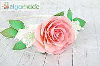 Ободок с розой и гортензией из фоамирана