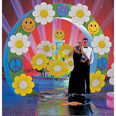 groovy prom theme. Good daisies but I think the smily faces are more  seventies.
