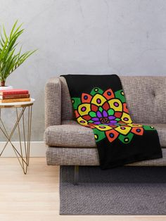 """Flower of Life Mandala"" Throw Blanket by Pultzar 