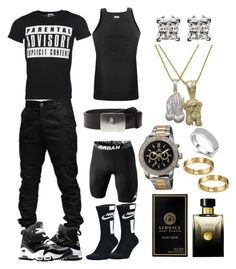 Untitled #97 by blvcksymba on Polyvore featuring NIKE, 2(x)ist, Polo Ralph Lauren, Joshua & Sons, Versace, Roial, men's fashion and menswear