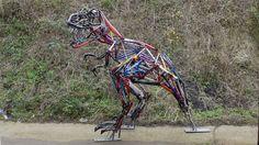 Tyrannosaurus Rex Sculpture by Hubcap Creatures