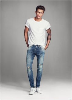 Harvey Haydon Models Super Skinny Denim Jeans for H&M Men