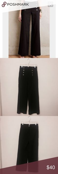 111f080377 Anthropologie Wide Leg High Waist Sailor Pants These are an amazing pair of  high waisted black