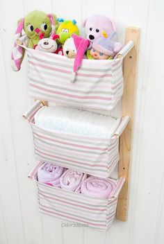 Wall hanging organizer - with 3 fabric pockets - pleasant light pink stripes with white / grey stripes  MEASUREMENTS --------------------------- Total