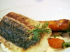 Striped Bass and Preserved Lemon Dressing with Grilled Carrots from FoodNetwork.com  Dinner tonight!