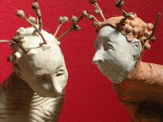 A Silent Solicitation: One of a Kind Handmade Terra Cotta and Stoneware Sculpture