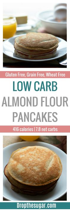 Low Carb Almond Flour Pancakes | an easy gluten free almond flour pancakes recipe for those watching their carbs. This makes for a great low carb breakfast idea when you're craving something other than eggs. Pin now to make later!