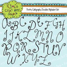 Digital Calligraphy Alphabet Letters by kimsclipartshop on Etsy, $5.00