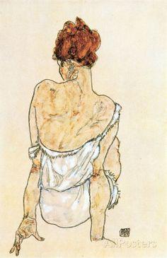 Sitzende Frau Reproduction procédé giclée Premium par Egon Schiele sur AllPosters.fr