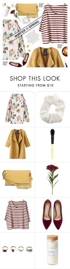 """winter to spring layers"" by jesuisunlapin ❤ liked on Polyvore featuring Yumi, Topshop, Chicnova Fashion, Bobbi Brown Cosmetics, Loewe, OKA, Iosselliani, Alex Monroe, stripes and suedepumps"