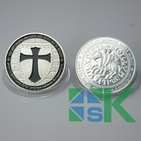 Wholesale 50Pcs/ Lots Knights Templar Colorized Black Silver Plated Cross Coin Best Gift Free Shipping