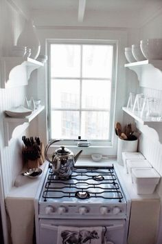 I like positioning of this stove, I also like how fresh and calming the area is.