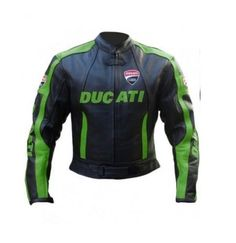HANDMADE Custom Handmade BLACK GREEN DUCATI Motorcycle Leather Jacket #Ducati #Motorcycle