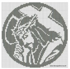 jesus by on DeviantArt Filet Crochet Charts, Crochet Cross, Crochet Diagram, Cross Stitch Charts, Cross Stitch Designs, Cross Stitching, Cross Stitch Embroidery, Religious Cross Stitch Patterns, Fillet Crochet