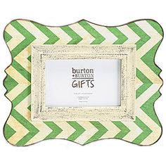 "12"""" Wooden Chevron Picture Frame - Rustic Green - 4x6"