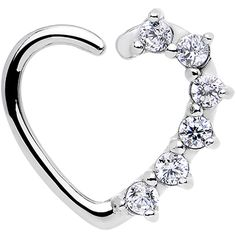 16 Gauge Clear CZ Heart Left Closure Daith Cartilage Tragus Earring | Body Candy…