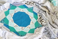 Bonjour Quilts, a work in progress. EPP patchwork pieces in a ring
