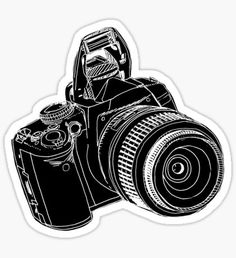 """""""dslr / blk on blk"""" Stickers by Catie Chapman Stickers Kawaii, Phone Stickers, Cool Stickers, Printable Stickers, Journal Stickers, Image Tumblr, Collage Mural, Scrapbooking Stickers, Camera Drawing"""