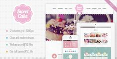 Sweet Cake - One Page PSD Theme by nicdark  Sweet Cake is a one page PSD theme for your business. The graphic is very sweet and creative, is ideal for bakeries, ice cream shops, restaurants and cake designers but if you want you can change the colors to adapt the theme fo