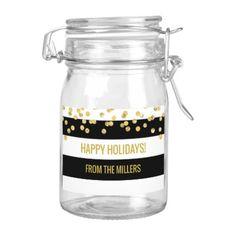 Black Stripes Gold Confetti Custom Happy Holidays Food Label - modern gifts cyo gift ideas personalize