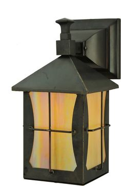 "0-012899>11""""h Pelham Manor 1-Light Outdoor Wall Sconce Craftsman Brown in Iridized Beige"