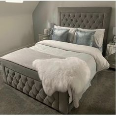 Shop the Brand: Willa Arlo Interiors Cute Bedroom Ideas, Room Ideas Bedroom, Bedroom Furniture, Bedroom Decor, Bed Ideas, Bedroom Shelves, Bedroom Stuff, Bedroom Signs, Upholstered Bed Frame
