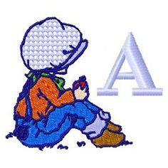 Sunbonnet Boys with Numbers Bx Font