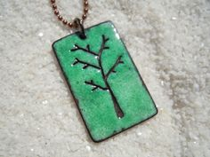 Tree Necklace Enamel Jewelry Tree Pendant by SevenCenterStudios, $30.00