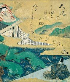 俵屋宗達「伊勢物語図色紙《大淀》」Ōyodo, Tales of Ise, episode 75 Tawaraya Sōtatsu (act. ca. 1600–40) Japan, early to mid-17th century Poetry sheet mounted as hanging scroll Ink, colors, and gold on paper Hosomi Museum, Kyoto Korean Art, Japanese Painting, Japanese Prints, 2d Art, Japan Art, Woodblock Print, Vintage Japanese, Vintage World Maps, Illustration Art